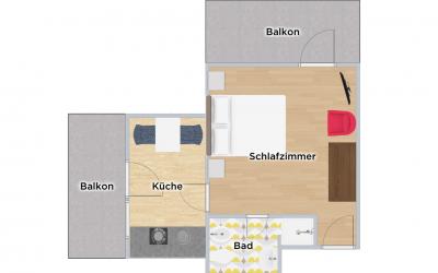 Grundriss Apartment Fritz