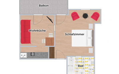 Grundriss Apartment Hans